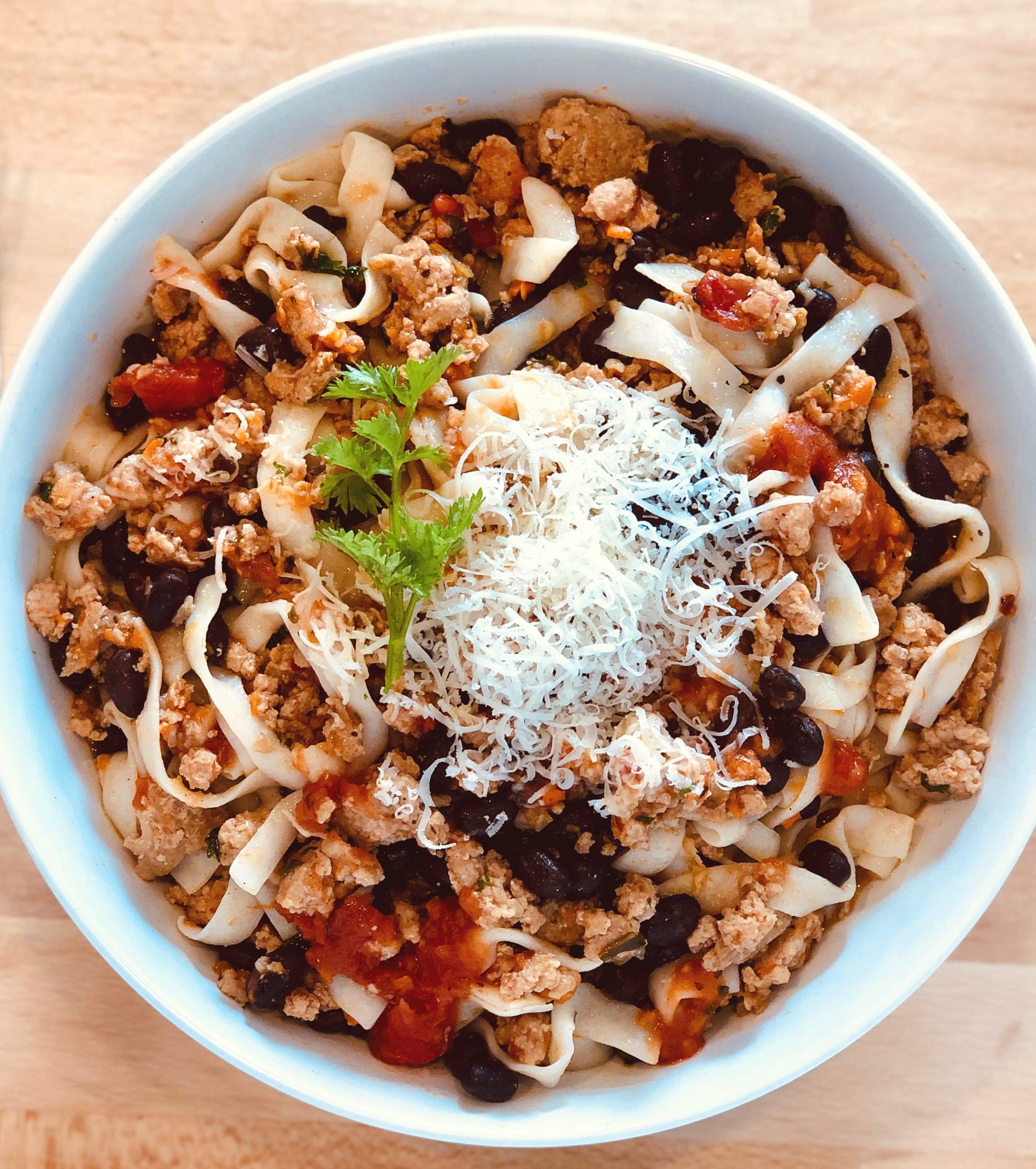Low Carb Noodles with Chicken and Black Beans