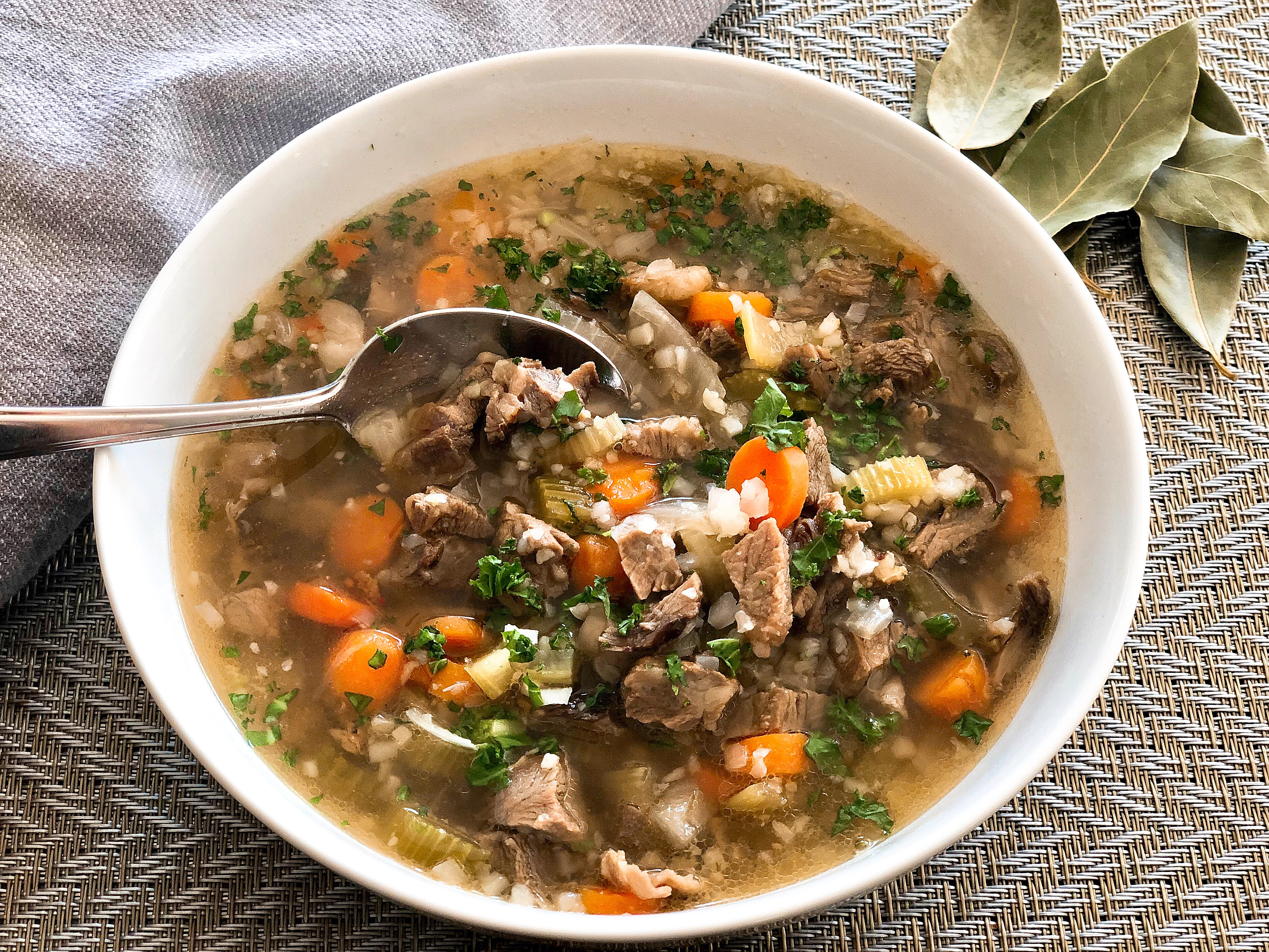 "Low Carb Beef ""Barley"" Soup"