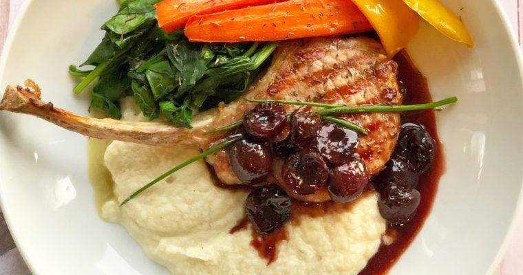 Grilled Pork Chops with Cherry-Balsamic Sauce