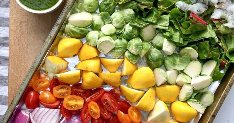 Prawn and Veggie Sheet Pan with Chermoula