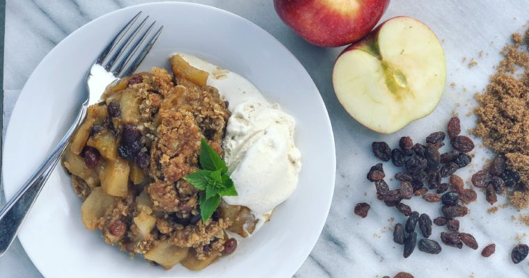 Rum Raisin Apple Crumble