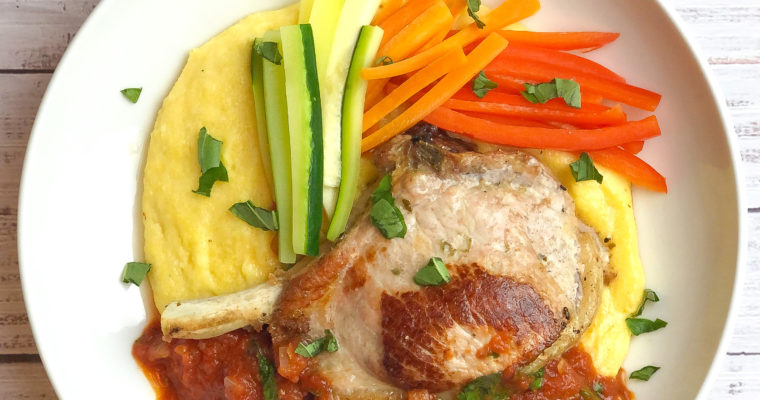 Smoked Mozzarella Stuffed Pork Chops with Polenta and Tomato Sauce