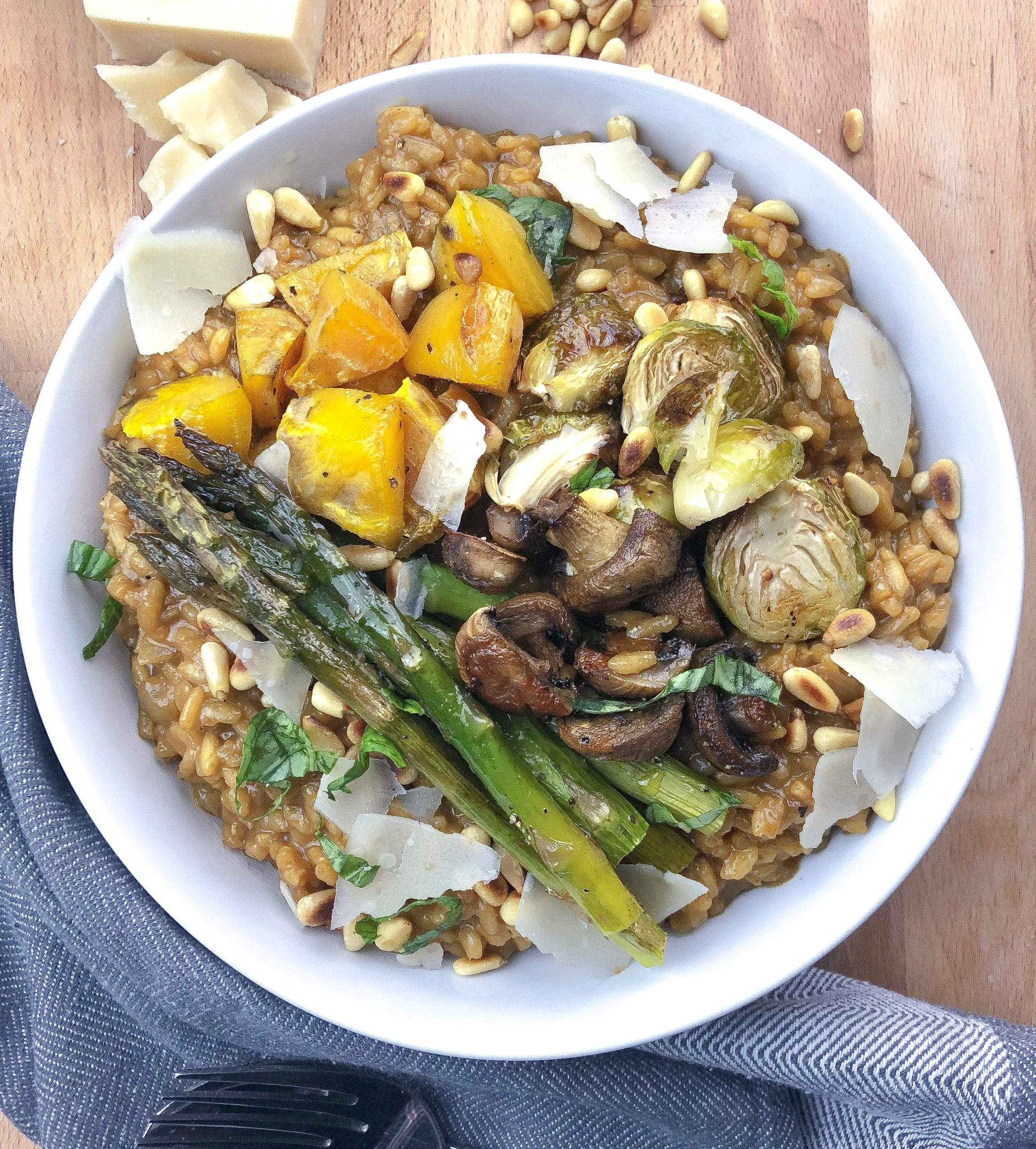 Roasted Vegetable Risotto with Pine Nuts