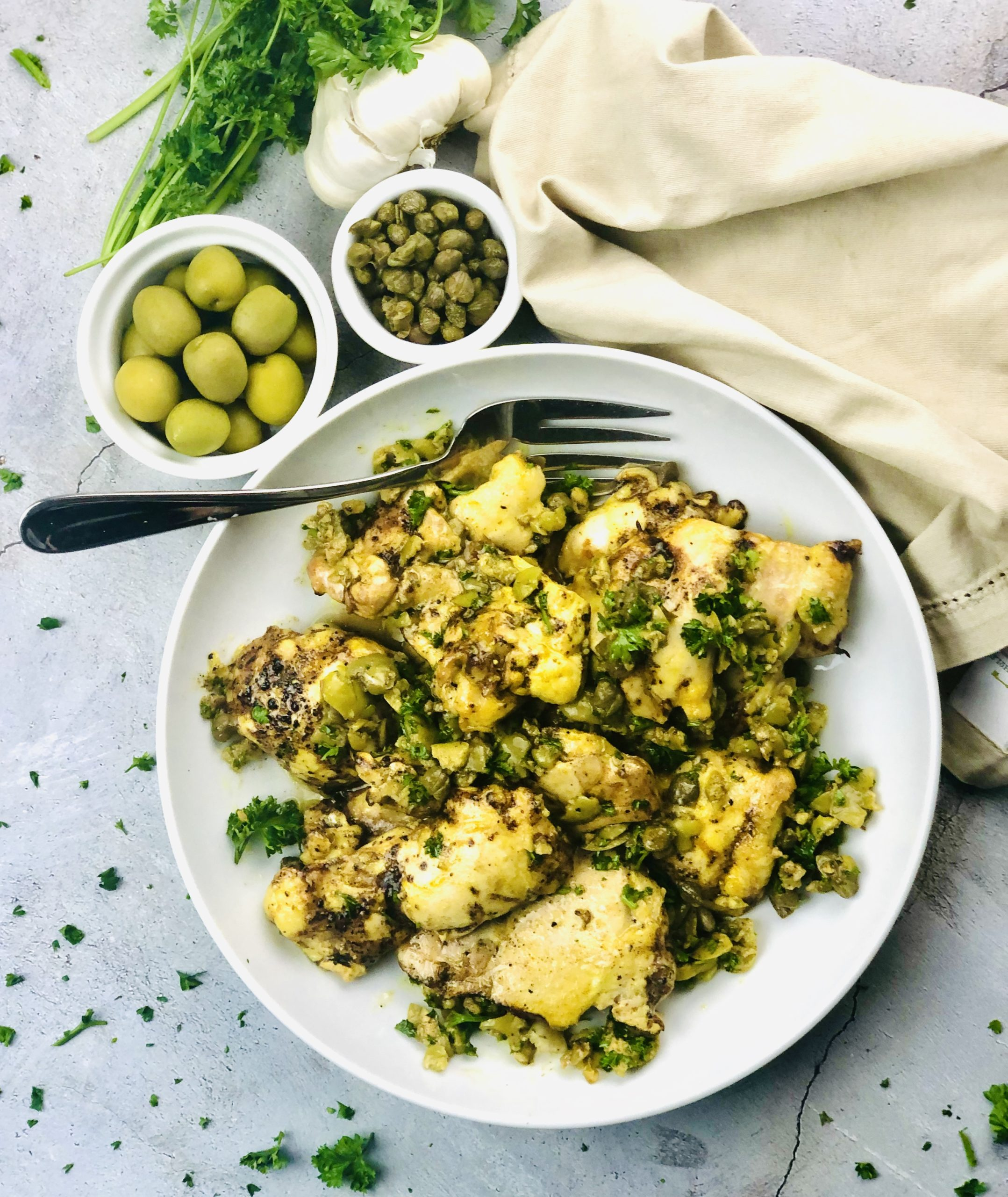Balsamic Chicken with Olive and Caper Dressing