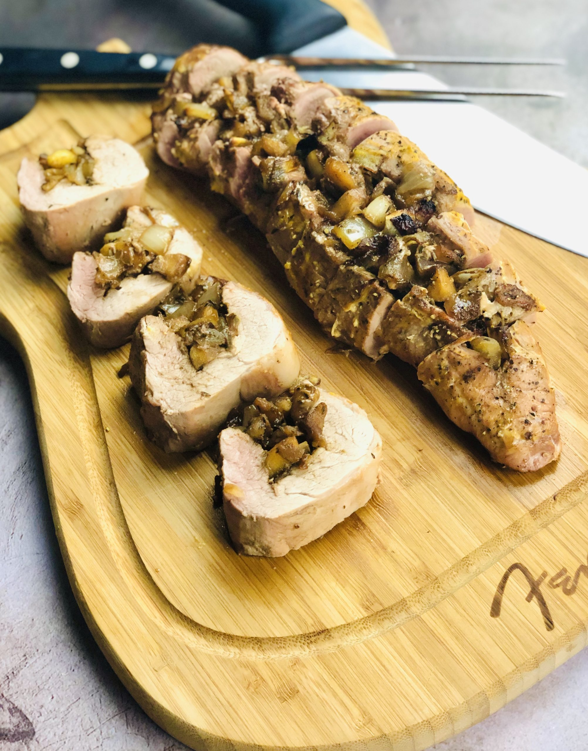 Grilled Apple and Thyme Stuffed Pork Tenderloin