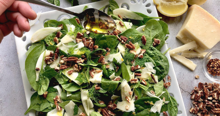 Shaved Fennel and Baby Spinach Salad
