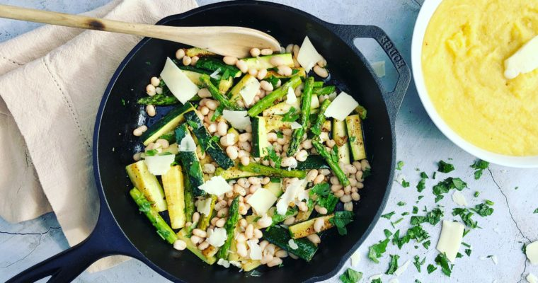 Creamy Polenta with Zucchini, Asparagus and Navy Beans.