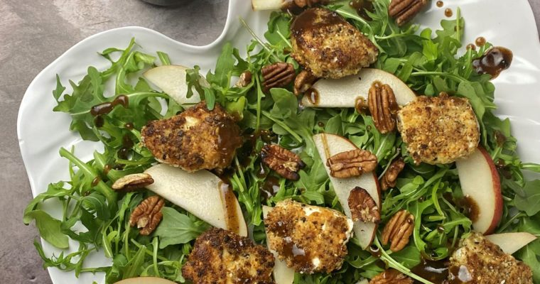 Nut-Crusted Goat Cheese, Pear and Arugula Salad