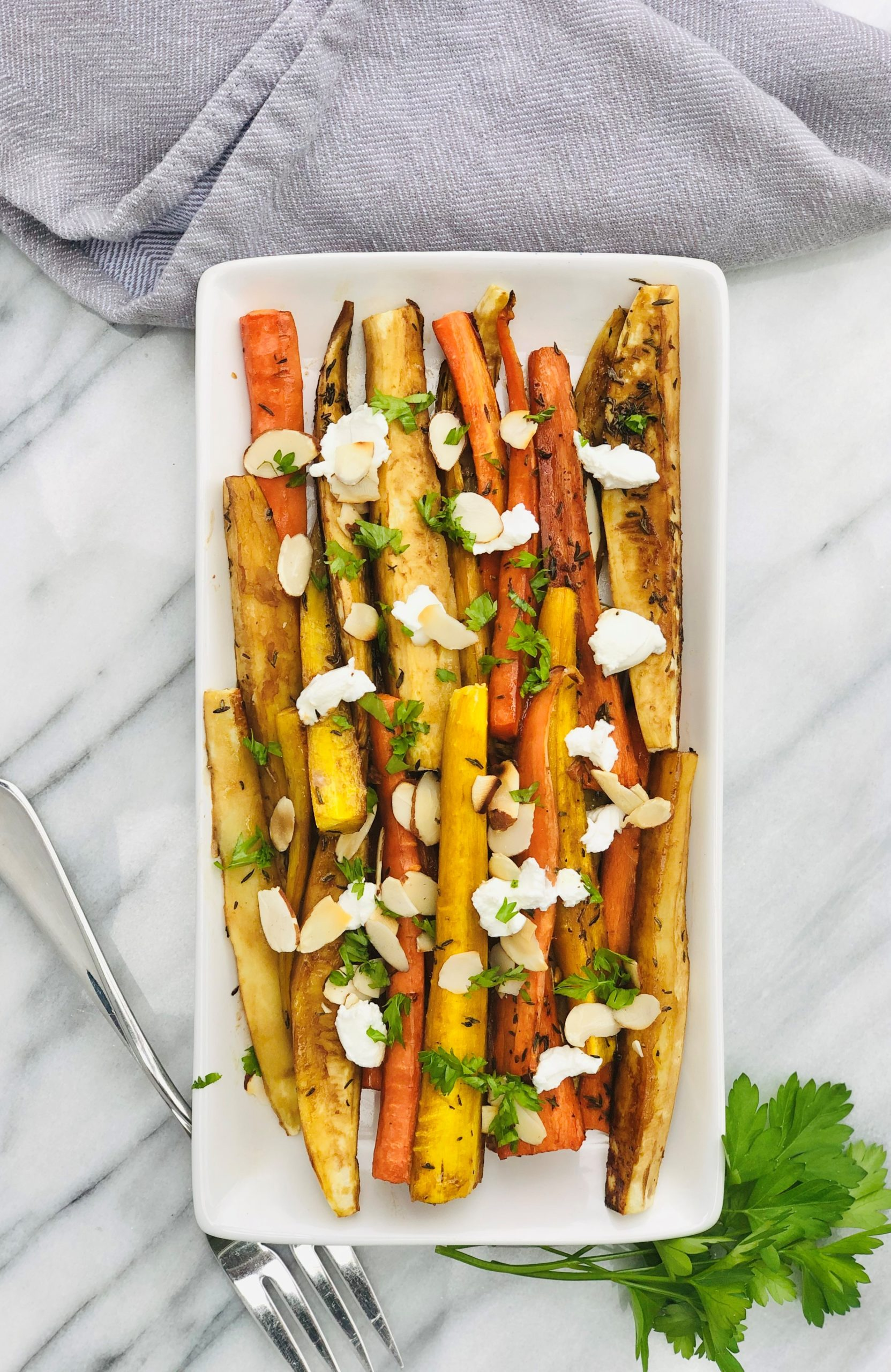 Roasted Balsamic Carrots with Goat Cheese and Almonds